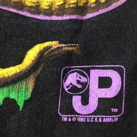 Vintage 1993 Jurassic Park sci-fi dinosaur movie t-shirt