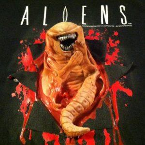 Vintage Aliens 3D rubber chestburster movie promo t-shirt