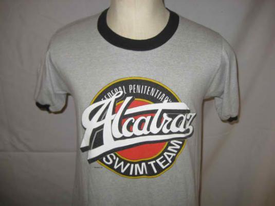 Vintage 1980s Alcatraz Swim Team ringer t-shirt, M L