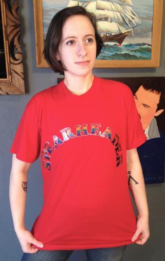 Vintage 1970's-1980's sparkly rainbow Spearheader t-shirt