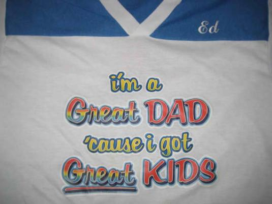 Vintage 1980's great dad, great kids iron-on t-shirt, S M