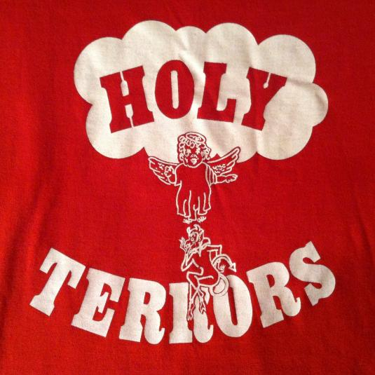 """Vintage 1970's """"Holy Terrors"""" angel and devil t-shirt"""