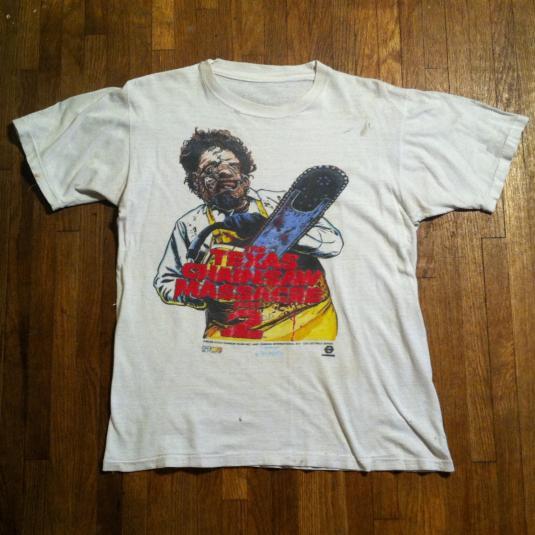 Vintage 1986 TEXAS CHAINSAW MASSACRE 2 horror movie t-shirt