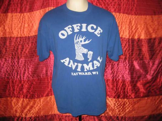 Vintage 80's t-shirt, Office Animal, soft and thin, XXL