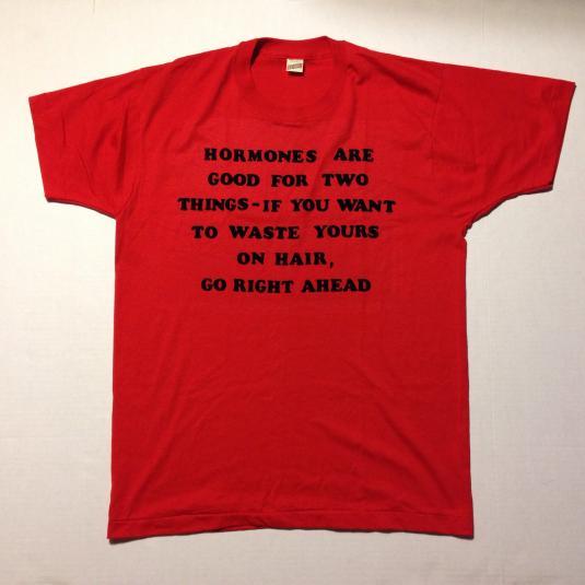 Vintage Funny 1980's bald man & hormones t-shirt