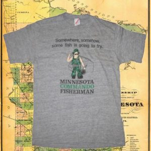 Vintage 1980's rayon blend funny MN fishing t-shirt, large