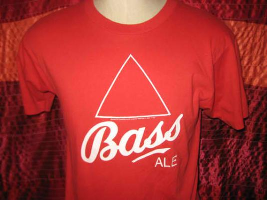 Vintage 80's Bass t-shirt, M L, soft and thin