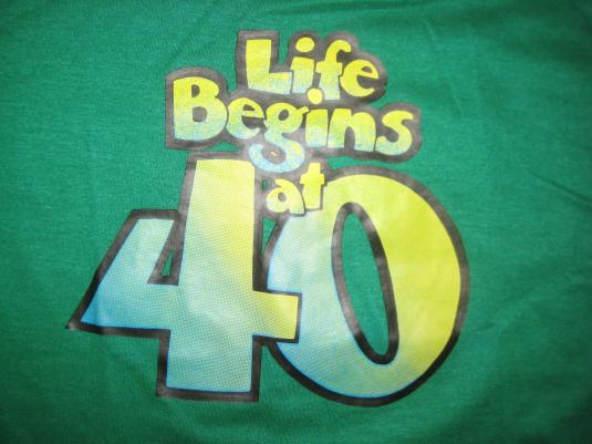 """Vintage """"Life begins at 40"""" t-shirt over the hill funny"""
