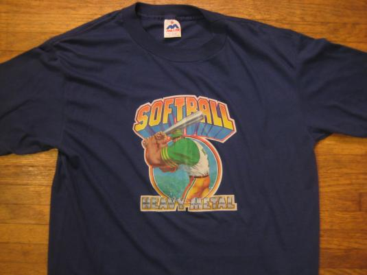 Vintage 1980's softball iron-on t-shirt, soft and thin, L-XL
