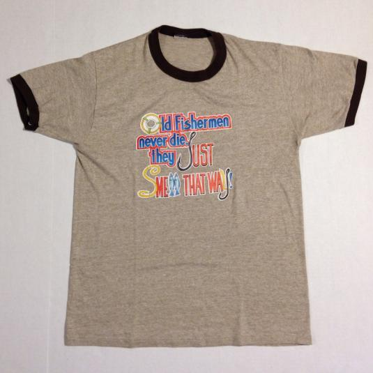 Vintage 1970's-1980's funny fisherman heather brown t-shirt