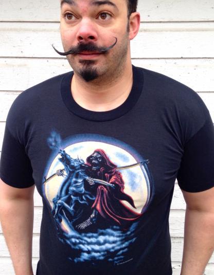 Vintage 1980's Grim Reaper on horseback death t-shirt