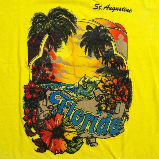 Vintage 1970's Florida surfer palm trees t-shirt