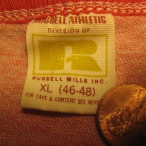 "Vintage 1980's rayon blend ringer t-shirt ""Griff"", L-XL"