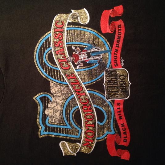 Vintage 1990 sparkly gold Sturgis motorcycle t-shirt