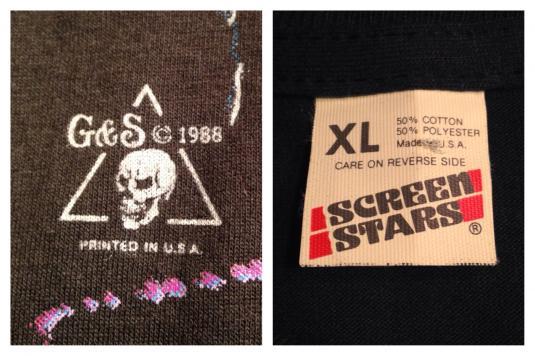 Vintage 1980's heavy metal glam rock punk skeleton t-shirt