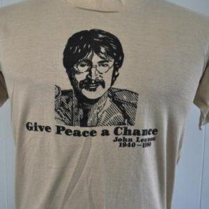 Vintage John Lennon TShirt 1980 Tee Give Peace a Chance 80s