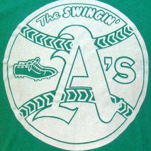 Vintage 70's Swingin' A's champion blue bar baseball shirt L