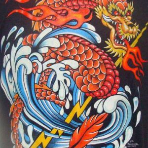 Vintage 86' Chinese dragon and lightning bolt t shirt M