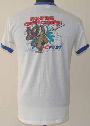 Vintage 80's Crest Cavity Fighter ringer t shirt L
