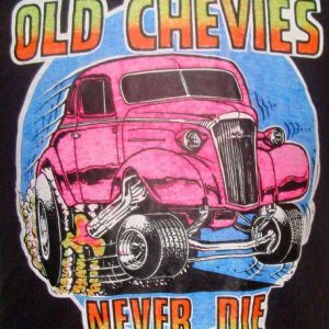Vintage 73' Old Chevies never die iron t shirt L