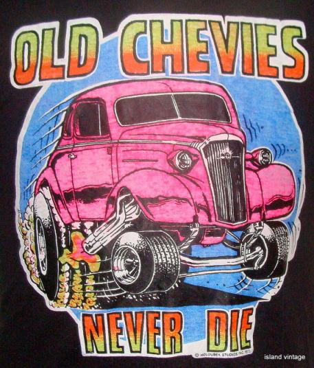 Vintage 73′ Old Chevies never die iron t shirt L