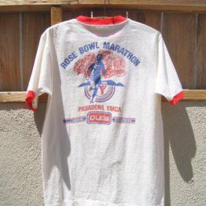 1982 Rose Bowl Marathon Pasadena YMCA Vintage Ringer T Shirt