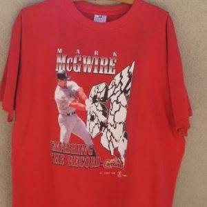 Vintage Mark McGwire Smashing The Record Cardinals 1998 Tee