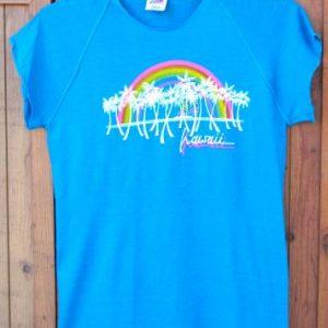 Vintage 1980s Bantam Women's Blue Hawaii T-Shirt