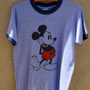 Vintage Mickey Mouse Ringer T Shirt Blue / Disney Casuals