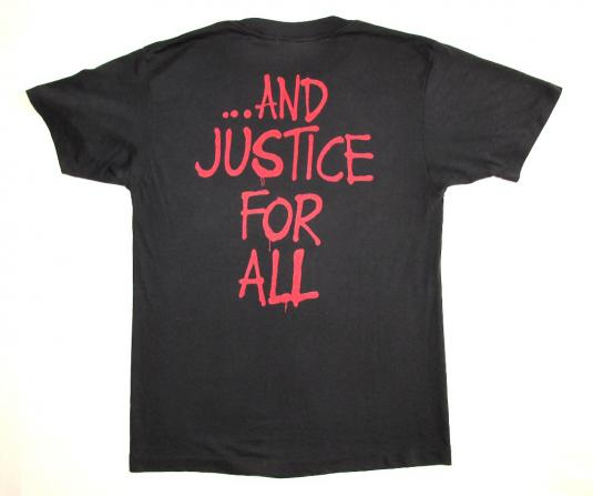 Metallica 1988 Justice For All Vintage T Shirt Group L