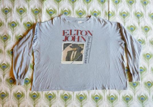 Elton John 1984 Vintage T Shirt Breaking Hearts Concert 80's