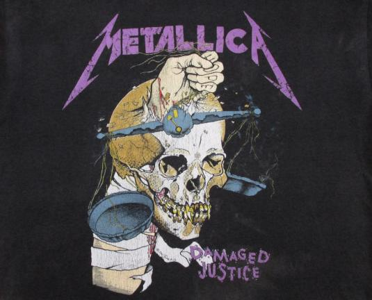 Metallica 1988 Damaged Justice Vintage T Shirt Summer 80's