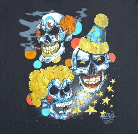 Evil Skull Clowns 90's 3D Emblem Vintage T Shirt Deadstock