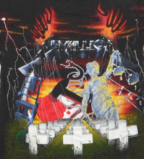 Metallica 90's Album Collage Vintage T Shirt 1991 L Concert