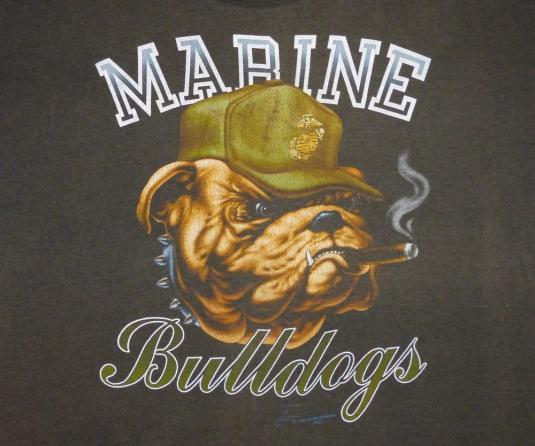 Marine 80's Bulldogs Vintage T Shirt Marines Mascot