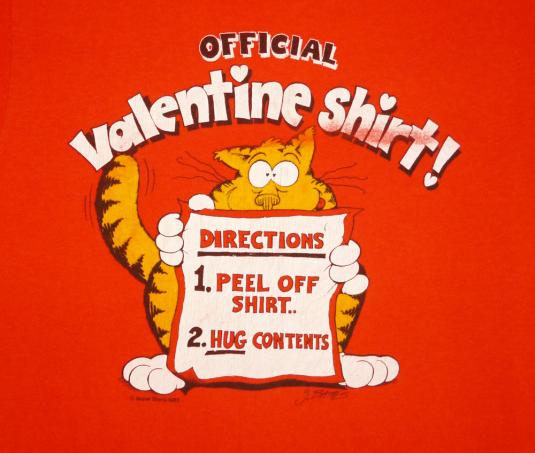 Official Valentine 80's Vintage T Shirt Cat Valentine's Day