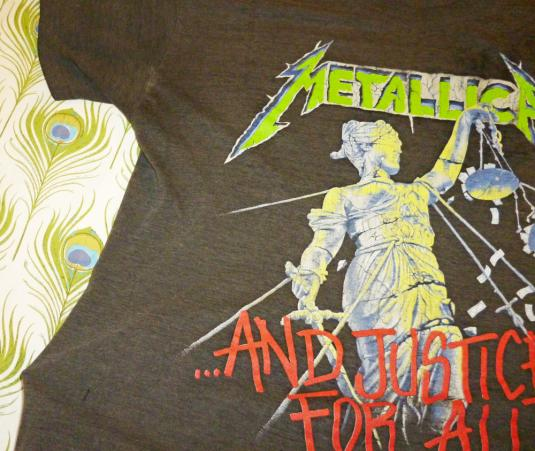 Metallica 1988 Justice For All Vintage T Shirt THIN Dates