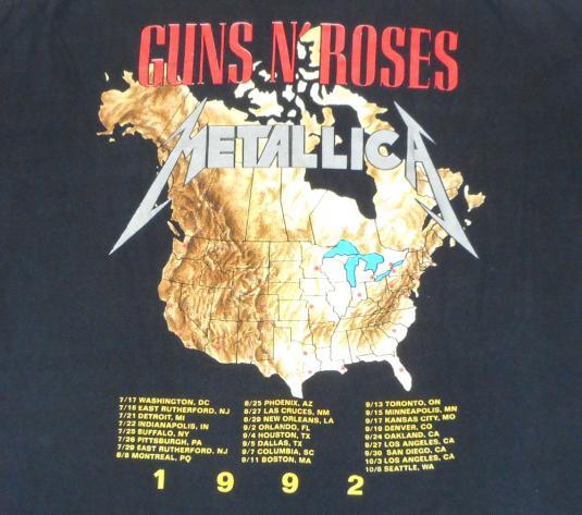 Metallica 90's Guns N Roses Tour Vintage T Shirt Concert '92