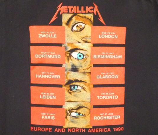 Metallica 1990 And Justice For All Vintage T Shirt Dates