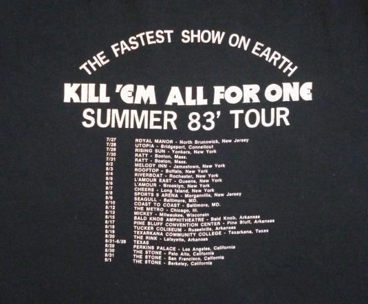 Raven & Metallica 1983 Kill 'Em All Vintage T Shirt Dates