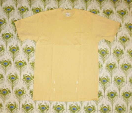 Blank Yellow 70's Vintage T Shirt Pocket Deadstock JcPenney