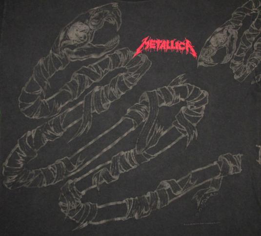 Metallica 1992 Black Tour Vintage T Shirt Pushead Snake