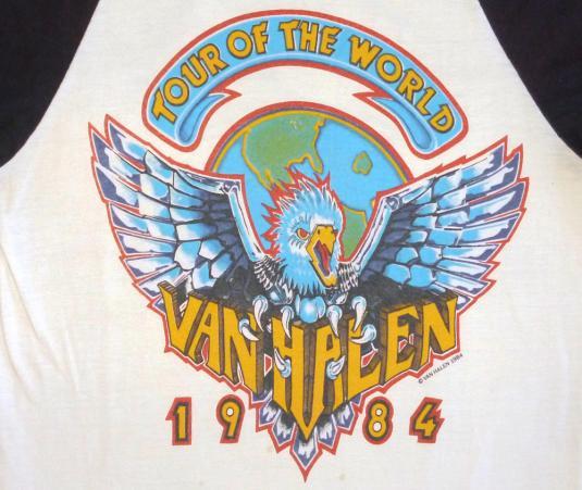 Van Halen 1984 Tour Of World Raglan Jersey Vintage T Shirt
