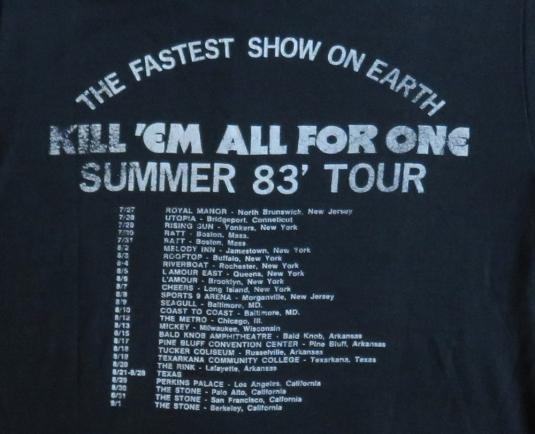 Raven & Metallica 1983 Black Tour Vintage T Shirt Dates