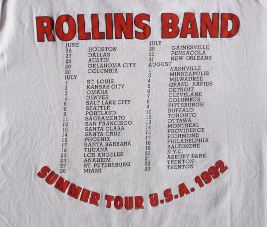 Rollins Band 1992 End Of Silence Vintage T Shirt Tour Dates