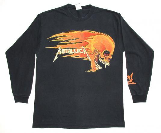 Metallica 90's Flaming Skull Vintage T Shirt Pushead L/S