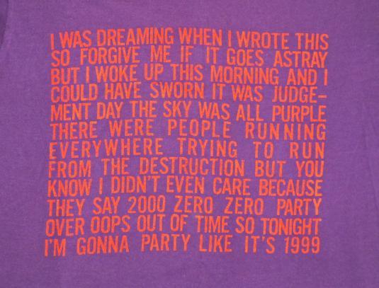 Prince 1982 Vintage T Shirt 1999 Concert 80's Lyrics