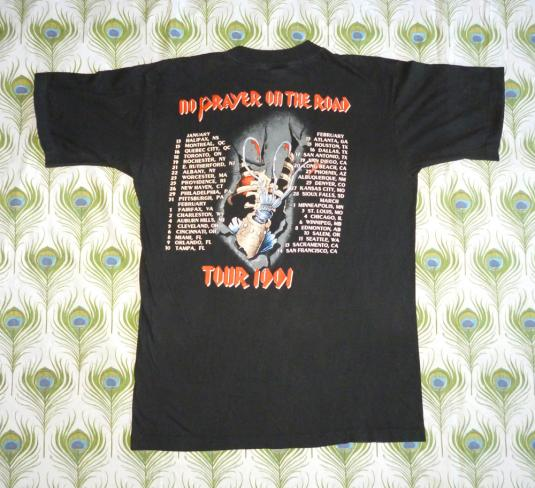 Iron Maiden 1991 No Prayer For Dying Vintage T Shirt Dates