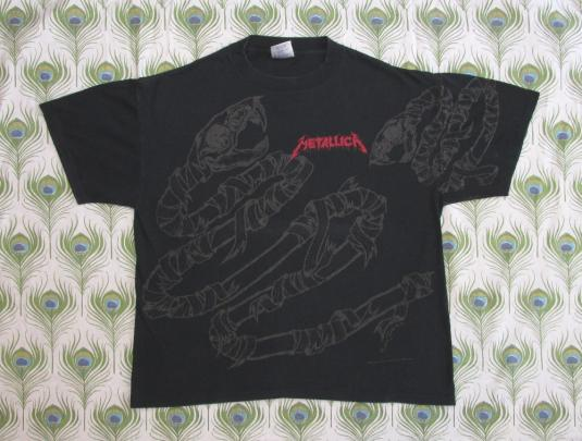 Metallica 1992 Black Tour Vintage T Shirt Pushead Snake 90's