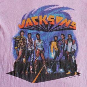 Jackson 5 1984 Vintage T Shirt Victory Concert Rare Pink